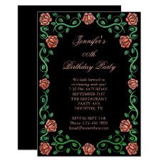 Beautiful Lacy Orange Rose Framed Birthday Party Card