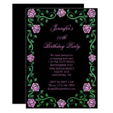 Beautiful Lacy Pink Rose Framed Birthday Party Card