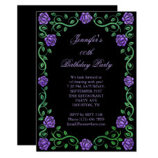 Beautiful Lacy Purple Rose Framed Birthday Party Card