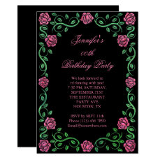 Beautiful Lacy Red Rose Framed Birthday Party Card