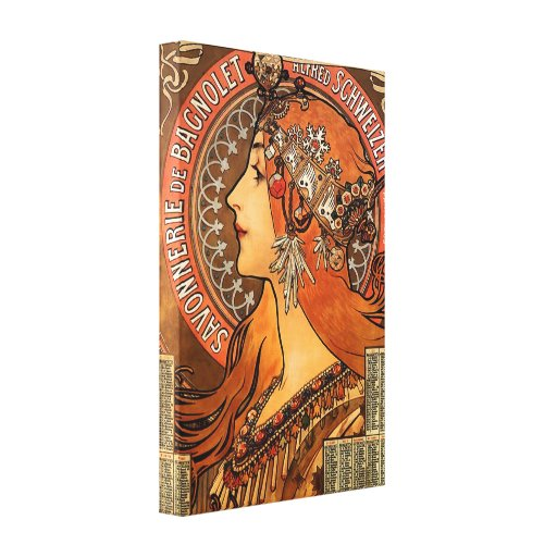 Beautiful ladies profile - Mucha Stretched Canvas Prints