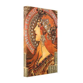 Beautiful ladies profile - Mucha Canvas Print