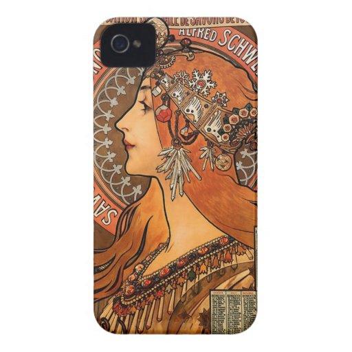 Beautiful ladies profile - Mucha iPhone 4 Case-Mate Cases