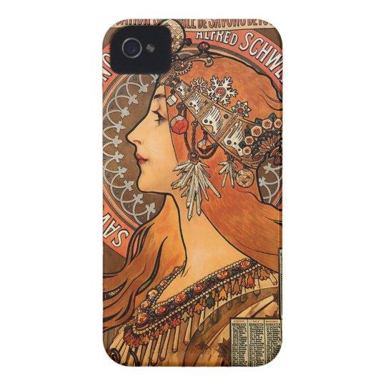 Beautiful ladies profile - Mucha iPhone 4 Case