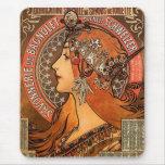 Beautiful ladies profile - Mucha Mouse Pad
