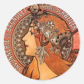 Beautiful ladies profile - Mucha Classic Round Sticker