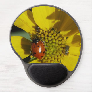 Beautiful Lady Bug nestled in a sunflower. Gel Mouse Pad