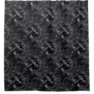Beautiful Lady Faces Carved Black Stone Tile Shower Curtain