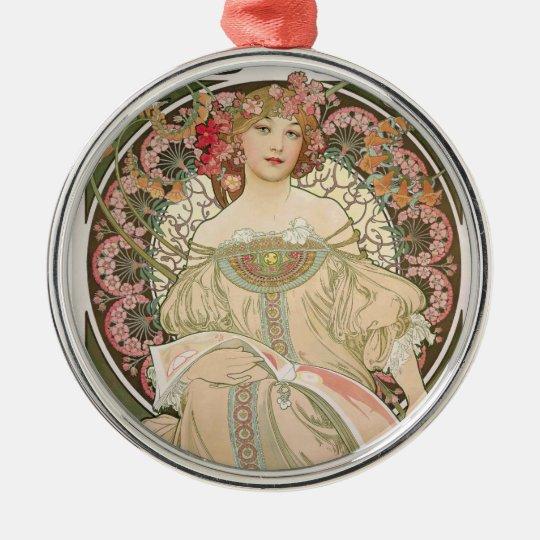 Beautiful lady - Mucha Metal Ornament