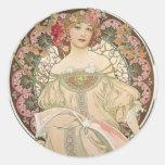 Beautiful lady - Mucha Stickers
