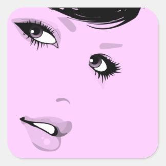 Beautiful Lady Square Sticker