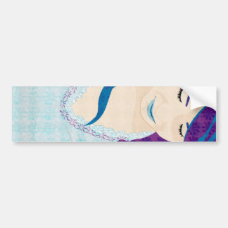 Beautiful Lady With Blue Hair Bumper Sticker