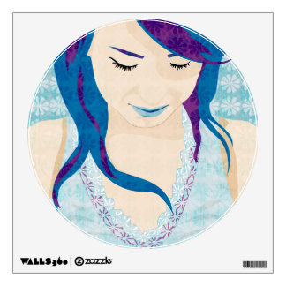 Beautiful Lady With Blue Hair Wall Sticker