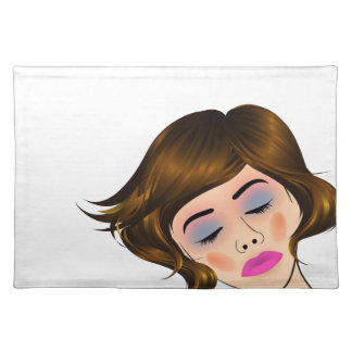 beautiful lady with golden highlights on hair placemats