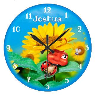 Beautiful Ladybug snoozing on Sunflowers. Large Clock