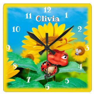 Beautiful Ladybug snoozing on Sunflowers. Square Wall Clock
