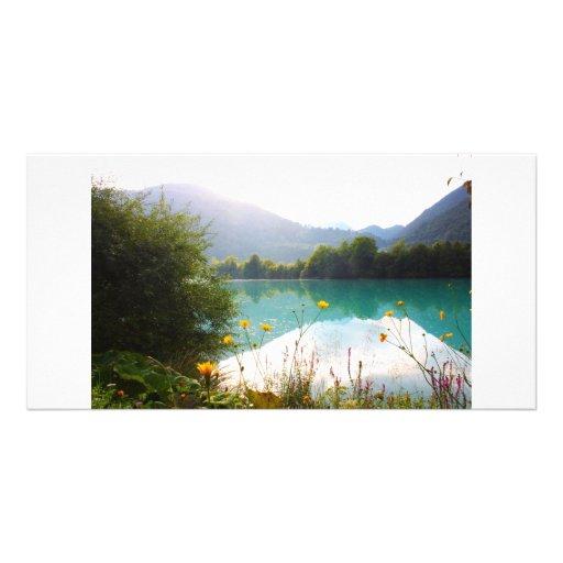 Beautiful lake in the Alps, Slovenia Photo Card Template