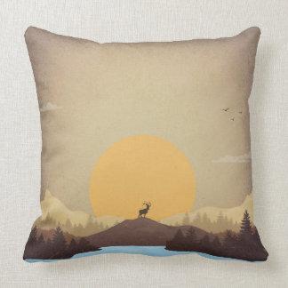 Beautiful lake sunset nature scenery throw pillow