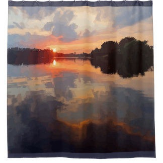 Beautiful Lake View Landscape Scenery Art Shower Curtain