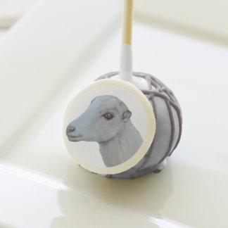 Beautiful LaMancha Goat Doe portrait Birthday Cake Pops