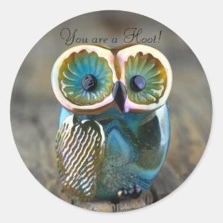Beautiful lampwork owl bead classic round sticker