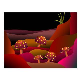 Beautiful Land Where Mushrooms Grow Postcard