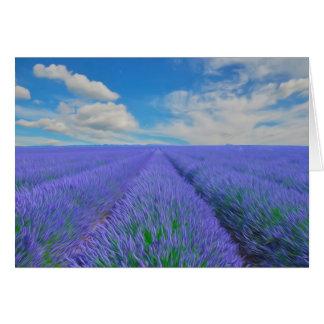 Beautiful landscape of lavender fields card