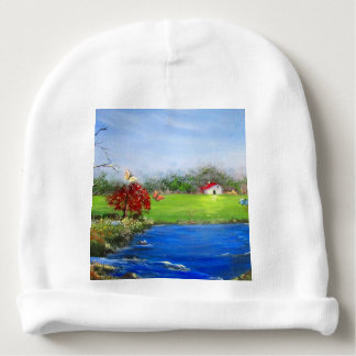 Beautiful landscape painting baby beanie