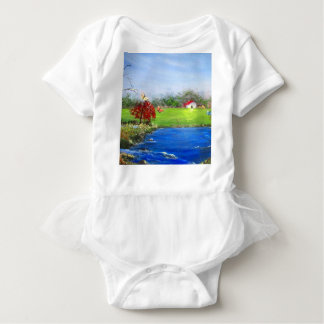 Beautiful landscape painting baby bodysuit