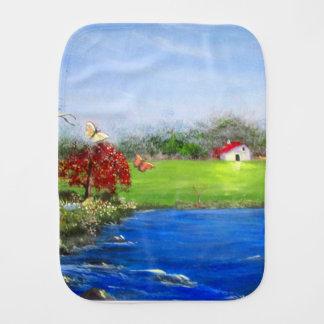 Beautiful landscape painting baby burp cloth