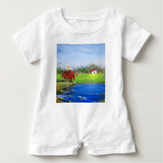 Beautiful landscape painting baby romper