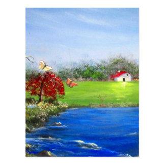 Beautiful landscape painting postcard