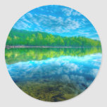 Beautiful landscape with turquoise lake classic round sticker