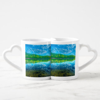 Beautiful landscape with turquoise lake, forest an coffee mug set