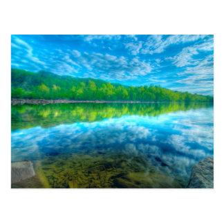 Beautiful landscape with turquoise lake, postcard