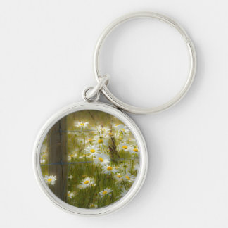 Beautiful Large Daisies Keychain/Keyring Silver-Colored Round Keychain