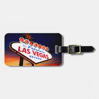 Beautiful Las Vegas Sunset with Travel Custom Info Luggage Tag