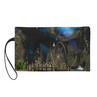 Beautiful latern boat at the jetty at night wristlet clutch