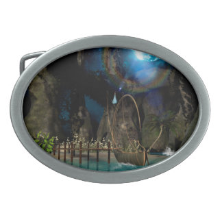 Beautiful latern boat at the jetty at night oval belt buckles