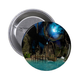 Beautiful latern boat at the jetty at night pinback buttons