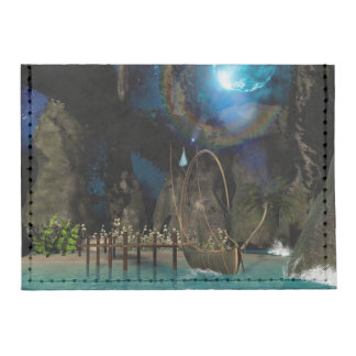 Beautiful latern boat at the jetty at night tyvek® card case wallet