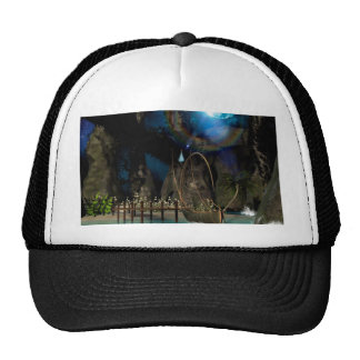 Beautiful latern boat at the jetty at night trucker hat