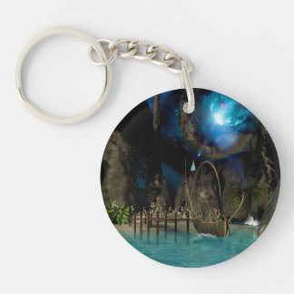 Beautiful latern boat at the jetty at night Single-Sided round acrylic keychain