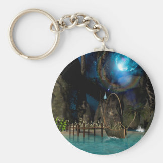Beautiful latern boat at the jetty at night keychain