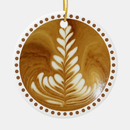 Beautiful Latte Floral Leaf Art Tree Ceramic Ornament