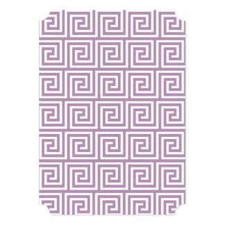 Beautiful Lavender and White Greek Key Pattern 5x7 Paper Invitation Card