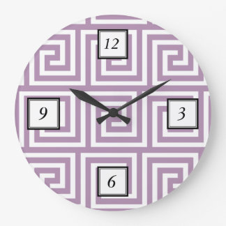 Beautiful Lavender and White Greek Key Pattern Large Clock