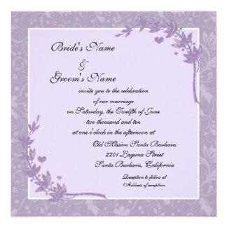 Beautiful Lavender Floral Wedding Invitations