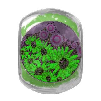 Beautiful Lavender Florescent Sunflowers Glass Jars