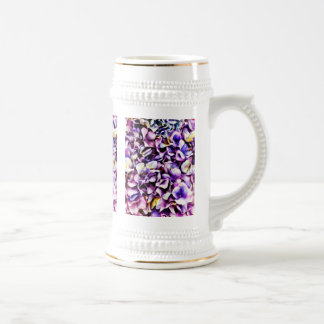 Beautiful Lavender Purple Hydrangea Flower Petals Beer Stein